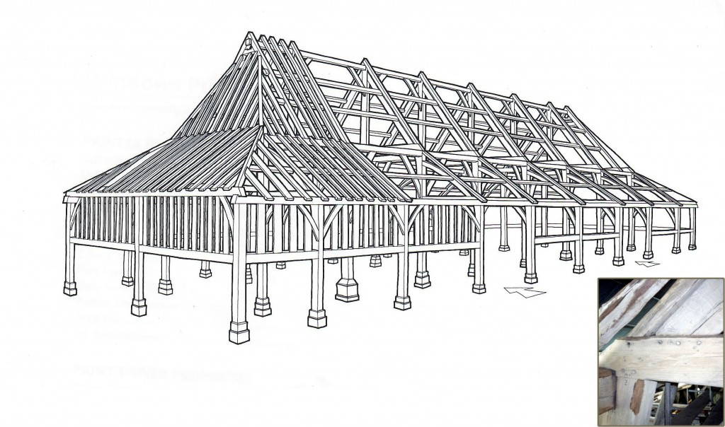 Stank Hall Barn - 15th-century timber frame